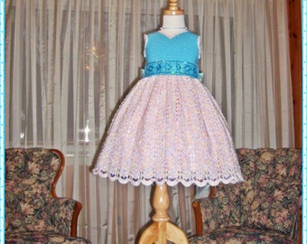Tiffany's Sparkling Topaz Ensemble Crochet Children Dress Digital e Pattern (girl size 8, 10, 12 14) 012P-LG
