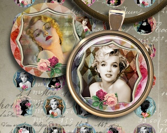 1 inch (25mm) circle images PRETTY WOMAN Printable Download Digital Collage Sheet for glass and resin pendants magnets bootle caps bezels