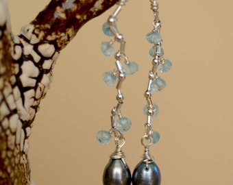 Black Pearls and Apatite Earrings.   BLUE HALE Black Pearl Sterling Silver Earrings. Gemstone Earrings. Bridal Earrings.