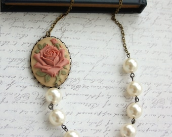 A Large Carved Dusty Pink Rose Flower Cameo Large Ivory Pearls Necklace. For Mum. Statement Necklace. Anniversary Gift. For Girlfriends.