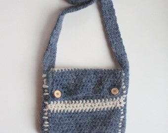 Small Bohemian Sling Purse in denim blue and oatmeal, floral print lining, ready to ship.