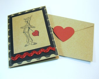 Greeting Card Vintage Wizard of Oz Tin Man Handmade Valentine's Day, I Love You, Have a Heart, with Envelope Seal QueenBeeInspirations