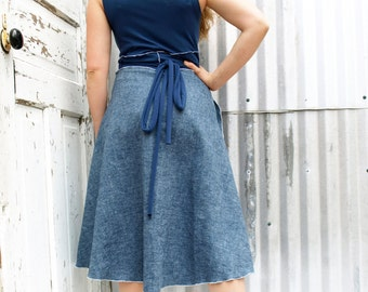 Lightweight Denim Wrap Dress - Hemp Organic Cotton - Made to Order - Other Colors Available