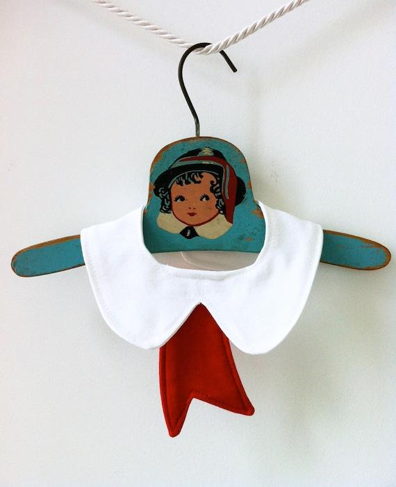 Unisex Drool Dribble Bib - Peter Pan Collar with Red Ribbon
