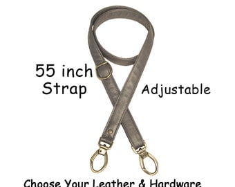 55 inch Adjustable Length - 1 inch Wide - Genuine Leather Crossbody Purse/Bag Strap - Your Choice of Leather and Hardware - Made to Order