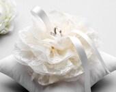 Lace ring pillow, ring bearer pillow, flower ring pilow, wedding ring pillow - Nora