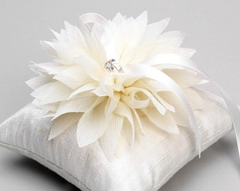 Ivory ring pillow, white ring bearer pillow, flower basket set available - Lydia