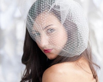 Double layered birdcage veil 14 inch, birdcage veil, tulle birdcage veil -ready to ship - FREE SHIPPING*