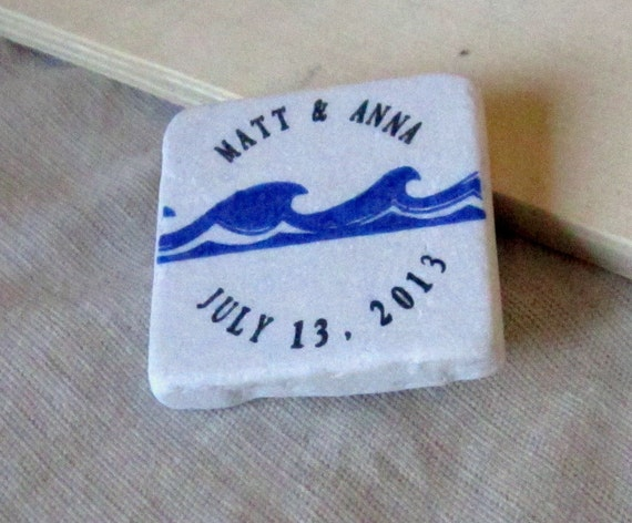 Tropical Wave Wedding Favor Magnets, Save the Date Magnets,Set of 25