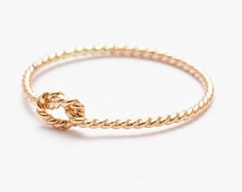 Tie the Knot Ring: Yellow Gold Filled Twisted Knot Band, Bridesmaid Jewelry