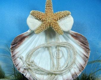 Seashell Ring Bearer Pillow - Sugar Star - Seashell Starfish Beach Ring Bearer's Pillow