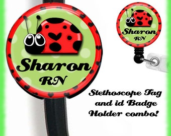 Stethoscope ID Name Tag And Retractable ID Badge Holder Combo Id Badge Reel, Nurse Badge Reel, Customizable