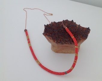 RED and YELLOW AFRICAN Snake Herringbone Necklace