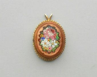 Antique Micromosaic Floral Pendant. Victorian Edwardian. Goldstone.