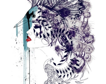 Peacock Girl II  // Signed A3 Giclée print // Fashion Illustration by Holly Sharpe