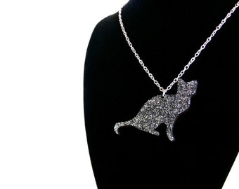 Black glitter cat silhouette necklace