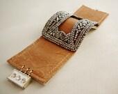 Antique Buckle Bracelet, Caramel Tan Leather Cuff, Rocker Bling, French