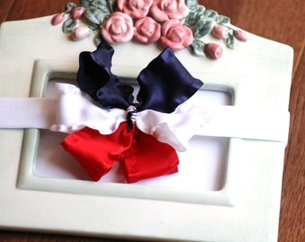 SALE July 4th Red White and Blue Girls Bow Headband