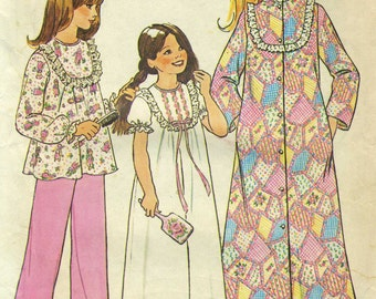 Vintage Simplicity 7202 UNCUT Girls Nightgown, Pajamas or Robe Sewing Pattern Size 8