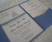 Fairytale castle pocketfold wedding invitation (SAMPLE)