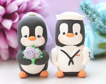 Wedding cake toppers Military Penguin US NAVY +hat - unique bride and groom figurines white light purple lavender bouquet personalized job