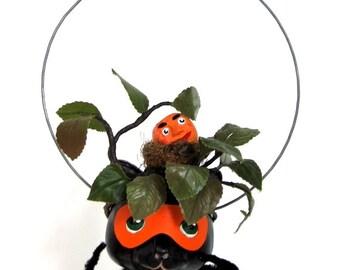 "Mixed Media Sculpture Inspired by Antique German Hallowe'en Folk Art Toys - ""Black Cat came as a Bush"""