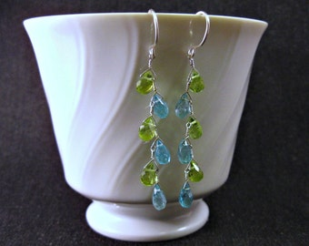 Peridot Apatite Earrings- Silver, Zig Zag Design with Gemstones