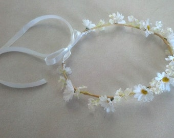 Daisy Flower crown White silk daisies hair wreath bridal accessory flower girl halo Hippie EDC headband wedding accessories nymph garland
