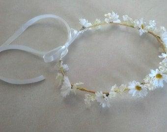 Daisy Flower crown White silk daisies hair wreath bridal accessory flower girl halo Hippie EDC headband wedding accessories spring garland