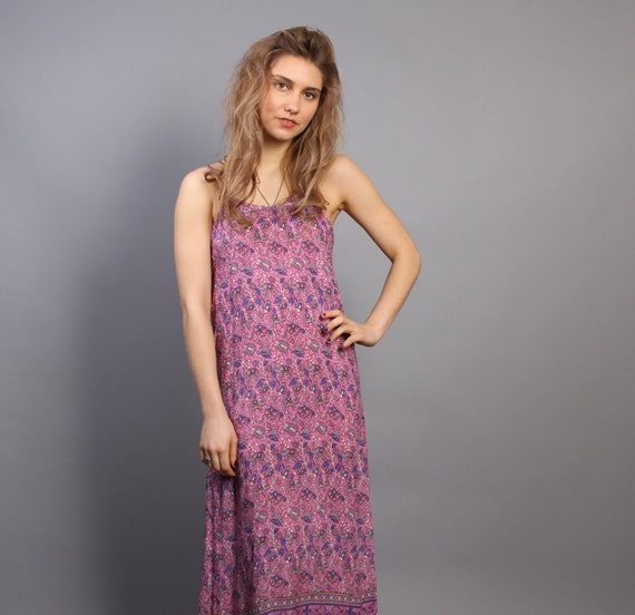 70s Indian Gauze SUN DRESS / Pink Ethnic Elephant Print Maxi,  xs-s