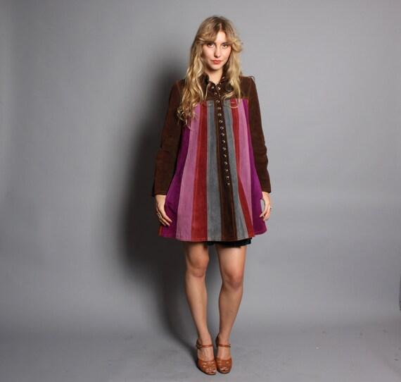 60s SUEDE COAT / Jewel Tone Stripe Babydoll Jacket, xs-s
