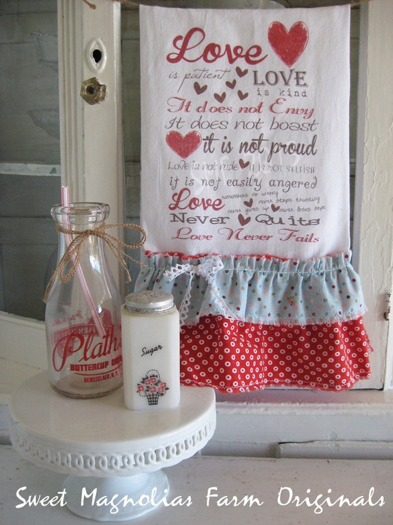 """Valentine Flour Sack Kitchen Towel .""""Love is Patient Love is Kind"""" - Typography ...for your Home, Farmhouse or Cottage"""