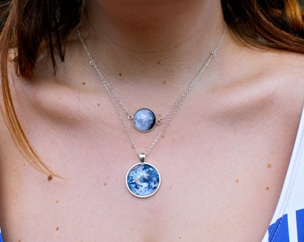 The Moon and Earth Necklace - Layered Glass Dome Full Earth and Moon Phase and Planet - Science Necklace
