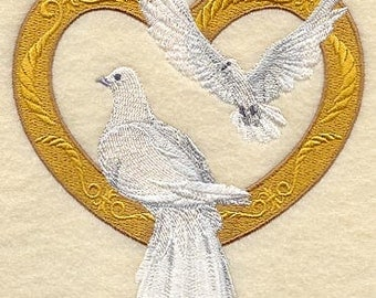 Victorian Doves Embroidered Terry Kitchen Towel Bathroom Hand Towel