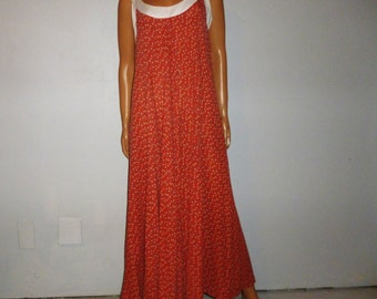 """Vintage 1960's - Novelty - Heart and Floral - Print  - Boho - Hippie - Cotton - Flowing - Maxi - Dress -  41"""" bust"""