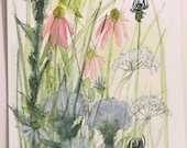 Watercolor Painting Illustration Botanical Garden Wildflowers Artwork by Laurie Rohner