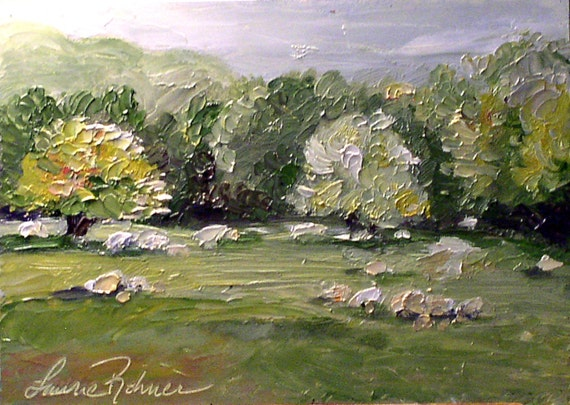 Oil Painting Vermont Landscape Original Woodland Nature Art by Laurie Rohner