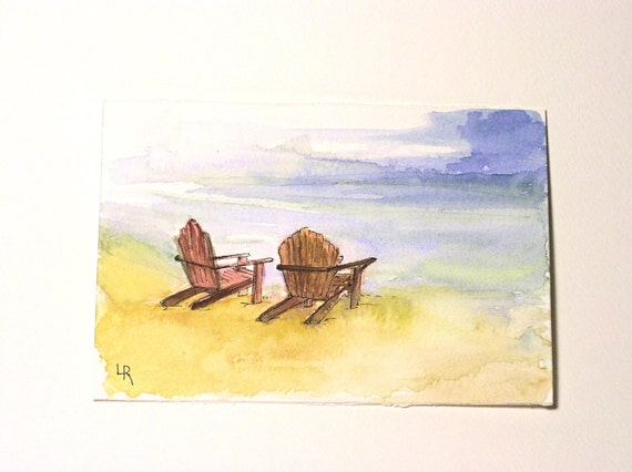 Watercolor Painting Illustration Landscape Ocean Beach Relax