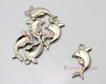 20 Dolphin, Dolfin, Marine Mammal,  cetacean, Pendants, Charms, Natural Motif, Findings Antique Silver Color Charms Metal Alloy 24x13mm