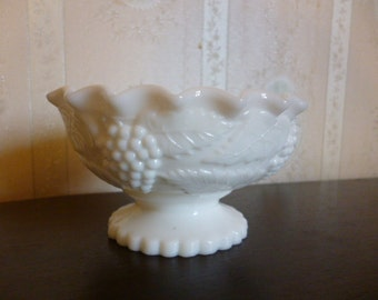 Vintage Milk Glass Pedestal Candy Bowl, Grapes, Pinched Edge