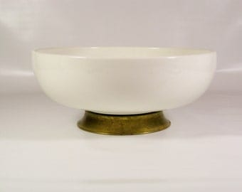Brass footed porcelain bowl