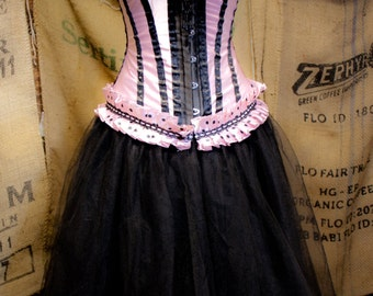 Gothic Steampunk Corset dress pink & Black tulle skirt prom dress