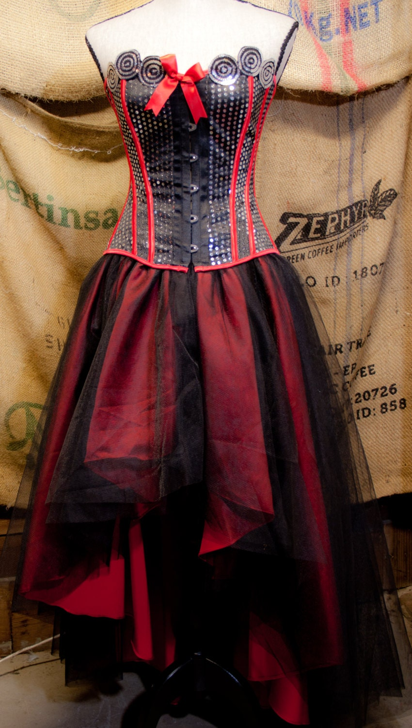 Gothic prom dress with tulle skirt red black burlesque corset for Steampunk corset wedding dress