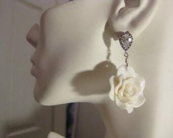 Bridal White Rose Earrings, Cubic Zirconia Earrings, Earrings for Bride, Wedding Earrings,