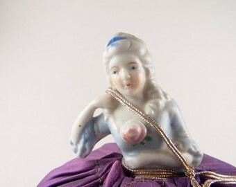 Vintage Half Doll Pin Cushion China Porcelain Doll Home Decor Sewing