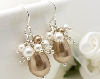 White and champagne brown pearl earrings, sterling silver bridal wedding jewelry