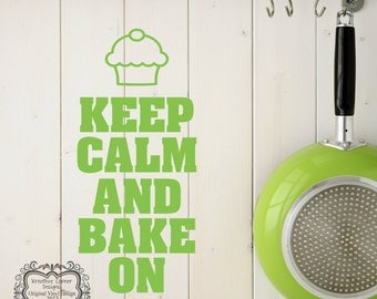 Keep Calm And Bake On Vinyl Decal