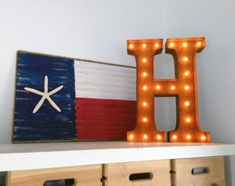 "Letter Light H - RUSTY - 24"" Vintage Marquee Lights-The Original!"