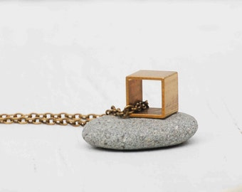 CUBE Necklace Brass Geometric Box Modern Square Simple Contemporary Vintage