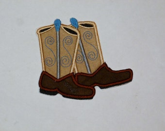 "Embroidered Iron On Applique- ""Cowboy Boots"""